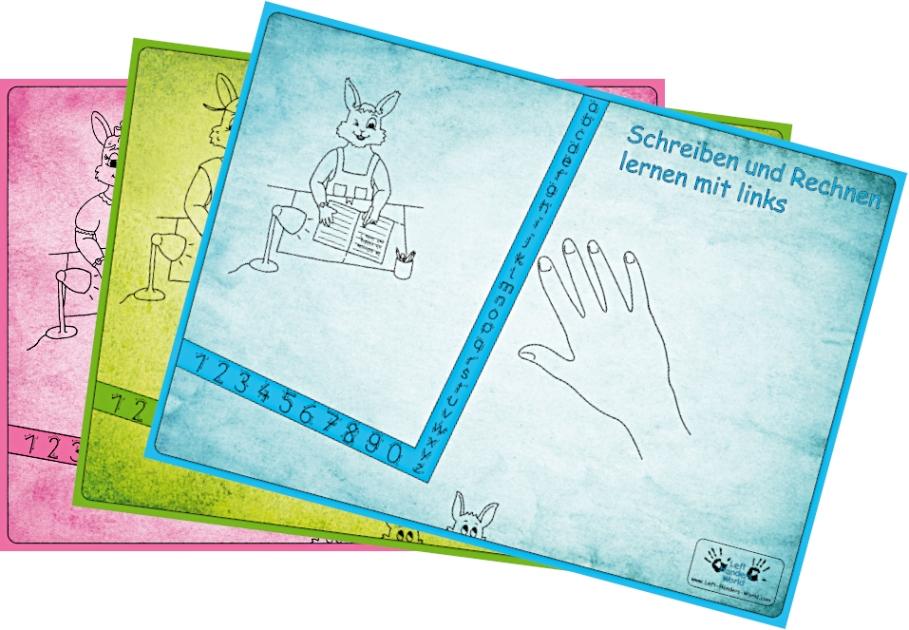 """Linkshänder Schreibunterlagen-Set """"Hasenfamilie"""""""