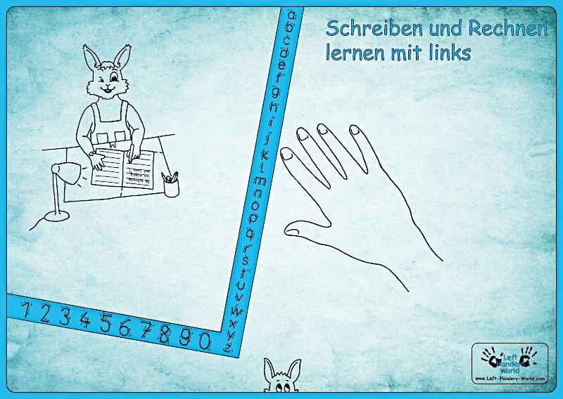 """Linkshänder Schreibunterlage """"Hasenkind"""""""